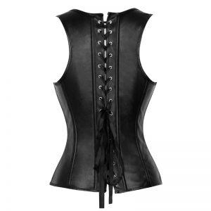 Rock Steampunk Faux Leather Steel Boned Overbust Corset Vest Black