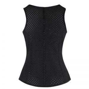 Spiral Steel Boned Hollow Latex Waist Training Underbust Corset Hollow-vest-Black