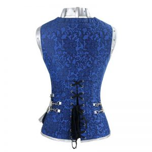 Steampunk Goth Retro Spiral Steel Boned Jacket Corset with Belt Blue/Silver