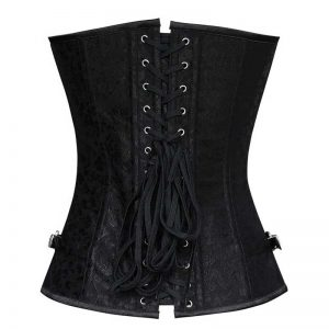 Steampunk Gothic Brocade Overbust Corset with Double Buckles Black