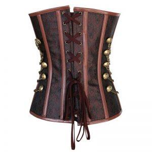 Steampunk Gothic Vintage Steel Boned Brocade Overbust Corset with Chains Dark-Brown
