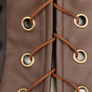 Steampunk Retro Faux Leather Victorian Underbust Corset Brown
