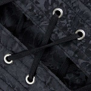 Steampunk Steel Boned Overbust Halter Zipper Corset Top Black