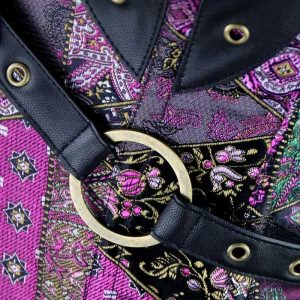 Steel Boned Retro Goth Brocade Steampunk Bustiers Corset Top with Jacket and Belt Multicolored