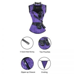 Steel Boned Retro Goth Brocade Steampunk Bustiers Corset Top with Jacket and Belt Purple