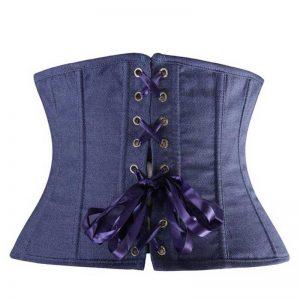 Fashion Denim Cowboy Buckle Waist Training Underbust Corset Blue