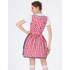 Girl'S Oktoberfest Red Grid Square Neckline Midi Dress Costume