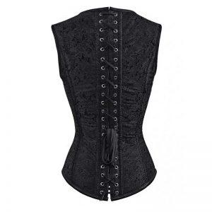 Gothic Steampunk Brocade Steel Boned Waist Cincher Corset Vest