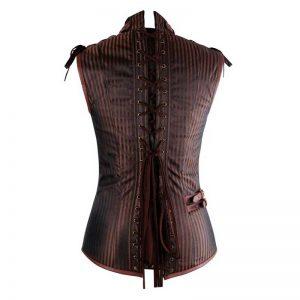 Mens Spiral Steel Boned Victorian Steampunk Gothic Waistcoat Vest