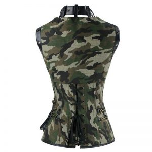 Spiral Steel Boned Steampunk Gothic Vintage Camouflage Print Corset with Jacket and Belt Camouflage