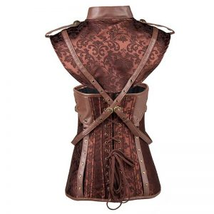 Steampunk Faux Leather Jacquard Underbust Corset with Shrug Brown