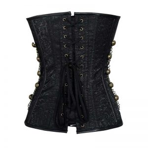 Steampunk Gothic Spiral Steel Boned Brocade Waist Cincher Overbust Corset with Chains